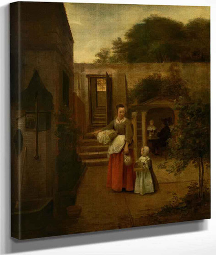 Woman And Child In A Courtyard By Pieter De Hooch