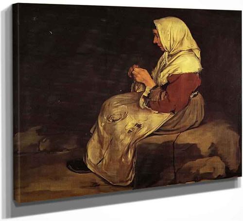 A Woman Braiding Wicker By Giacomo Ceruti