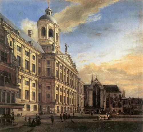 Amsterdam, Dam Square With The Town Hall And The Nieuwe Kerk By Jan Van Der Heyden