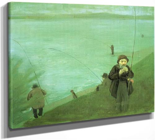 Anglers On The Rhine By August Macke