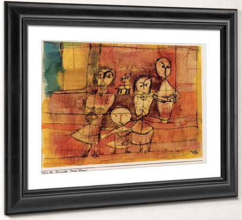 Children And Dog By Paul Klee Art Reproduction