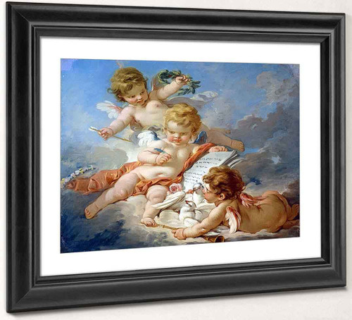 Cupids. Allegory Of Poetry By Francois Boucher Art Reproduction