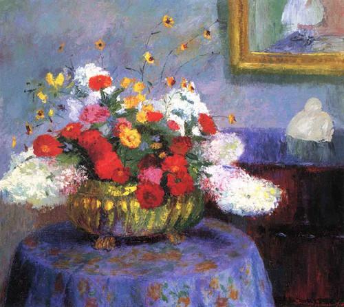 Still Life Round Bowl With Flowers By Bernhard Gutmann