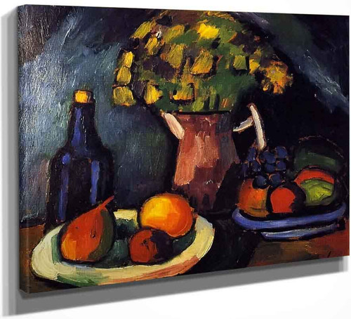 Still Life With Bouquet, Fruit Bowls And Bottle By Alexei Jawlensky By Alexei Jawlensky