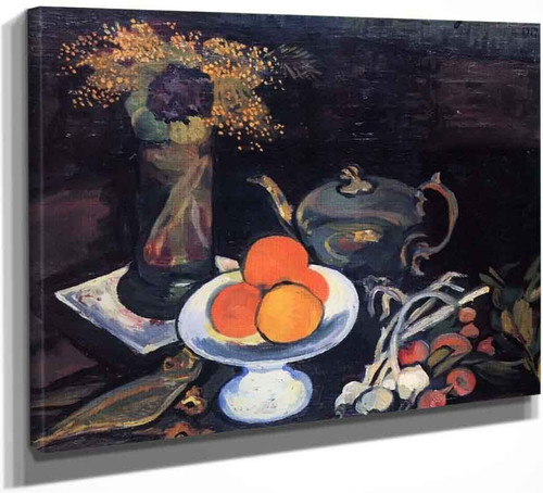 Still Life With Bowl Of Fruit, Flowers And Onions By Suzanne Valadon