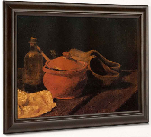 Still Life With Earthenware, Bottle And Clogs By Jose Maria Velasco