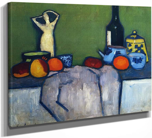 Still Life With Flask, Fruit And Figure By Alexei Jawlensky By Alexei Jawlensky