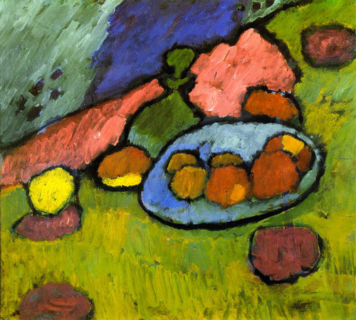 Still Life With Fruit Dish By Alexei Jawlensky By Alexei Jawlensky