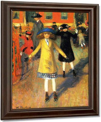 Children Roller Skating By William James Glackens