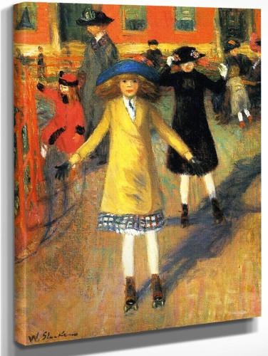 Children Roller Skating By William James Glackens  By William James Glackens