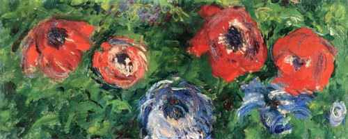 Anemones And Tulips In A Blue Vase By Claude Oscar Monet