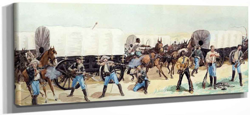 Attack On The Supply Train By Frederic Remington