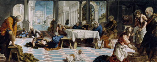 Christ Washing The Feet Of His Disciples By Jacopo Tintoretto