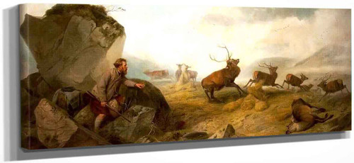 Hunter And Deer In A Highland Landscape By Richard Ansdell