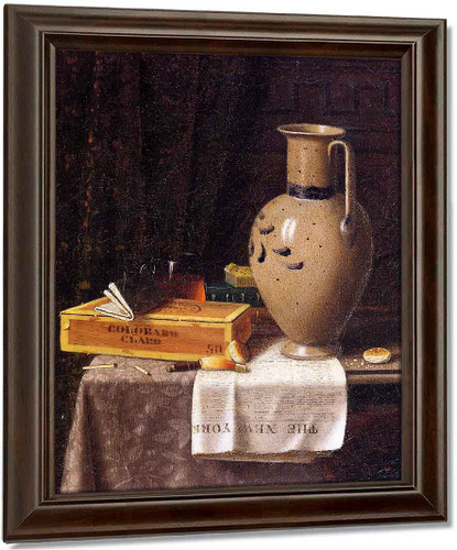 Cigar Box, Pitcher And 'New York World' By William Michael Harnett Art Reproduction