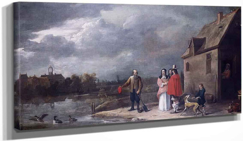 A Family Standing In A Landscape With A Moated House In The Background By David Teniers The Younger
