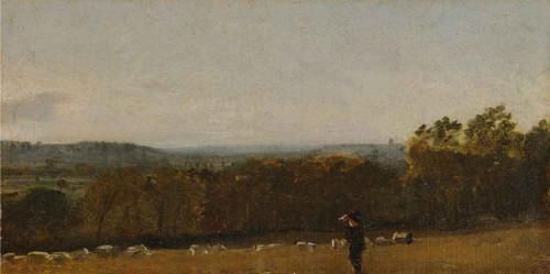 A Shepherd In A Landscape Looking Across Dedham Vale Towards Langham By John Constable By John Constable
