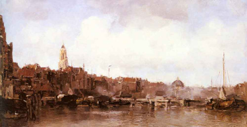 A View Of A Harbor Town By Jacob Henricus Maris