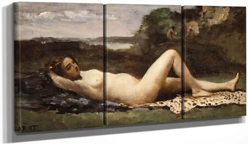 Bacchante In A Landscape By Jean Baptiste Camille Corot