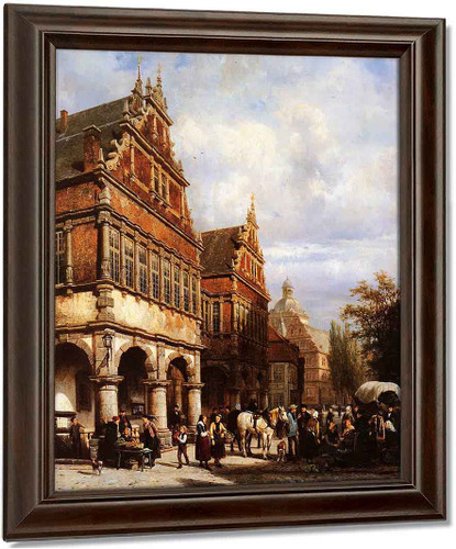 Cityhall Paderborn By Cornelius Springer Oil on Canvas Reproduction