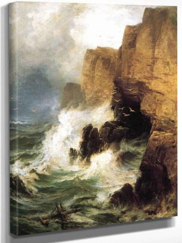 Cliffs In A Storm By Edward Moran