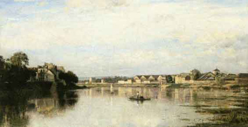 The Seine At L'ile Saint Denis By Stanislas Lepine