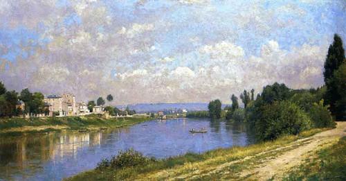 The Seine At La Garenne Saint Denis By Stanislas Lepine