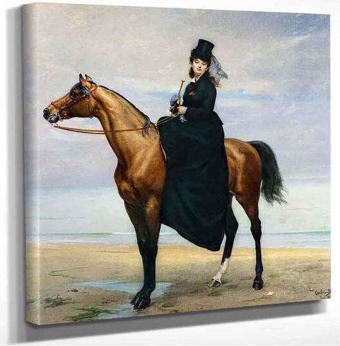 Equestrian Portrait Of Mademoiselle Croizette Charles Auguste Emile Durand