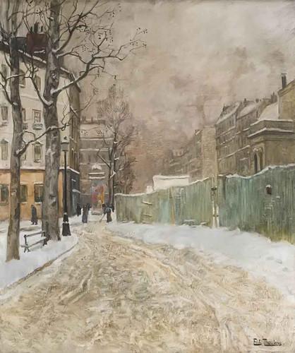 A Parisian Street Scene In Winter By Fritz Thaulow