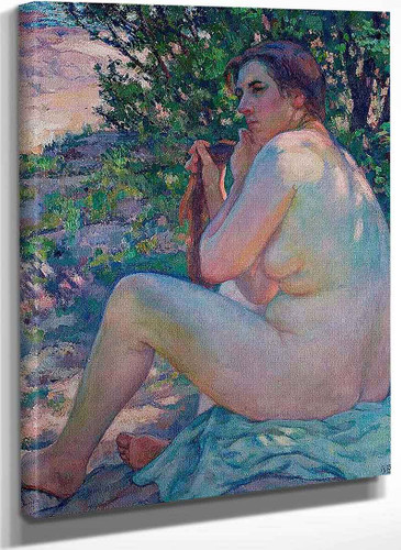 After The Bath (Nude Styling Her Hair) By Theo Van Rysselberghe