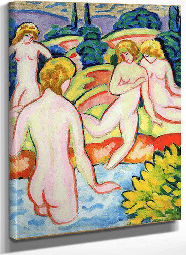 Bathers With Trees Of Life By August Macke