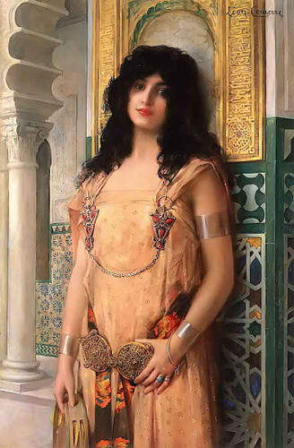 Beaute Orientale (Oriental Beauty) (Also Known As Lodalisque Au Tambourin) By Leon Francois Comerre