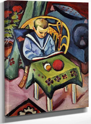 Boy With A Book And Toys By August Macke