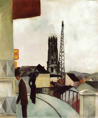 Cathedral At Freiburg Switzerland By August Macke