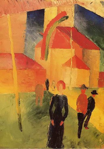 Church With Flags By August Macke