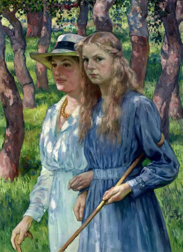 Mrs. Schlumberger And Her Daughter By Theo Van Rysselberghe
