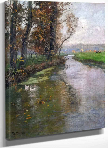 River Landscape By Fritz Thaulow