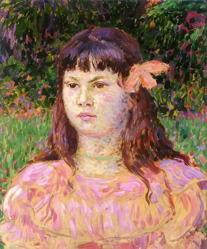 The Pink Ribbon (Also Known As Portrait Of Sylvie Lacombe) By Theo Van Rysselberghe