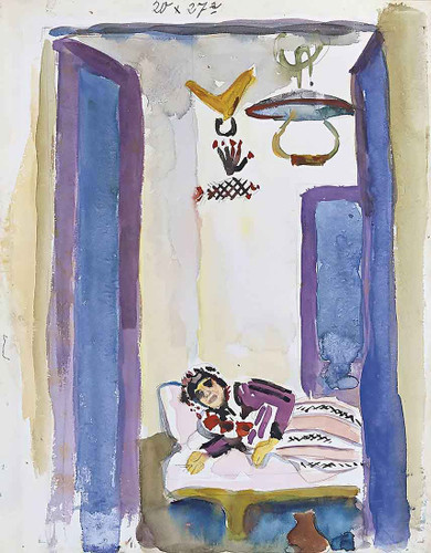 Woman On A Divan By August Macke