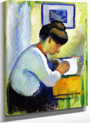 Woman Writing By August Macke