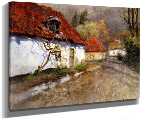 A Figure On A Village Path In Normandy By Fritz Thaulow