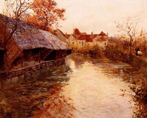 A Morning River Scene By Fritz Thaulow
