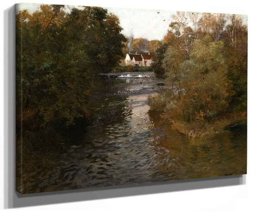 A River Landscape With Cottages By Fritz Thaulow