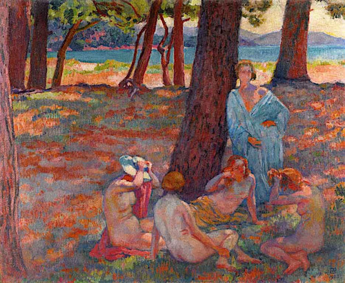 Bathers Under The Pines (Study) By Theo Van Rysselberghe