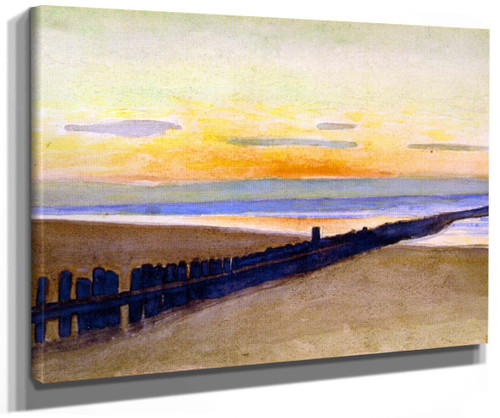 Beach At Sunset (Also Known As Plage Au Couchant) By Theo Van Rysselberghe
