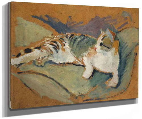 Cat On Green Pillow By August Macke
