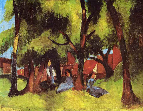Children Under Trees In Sun By August Macke