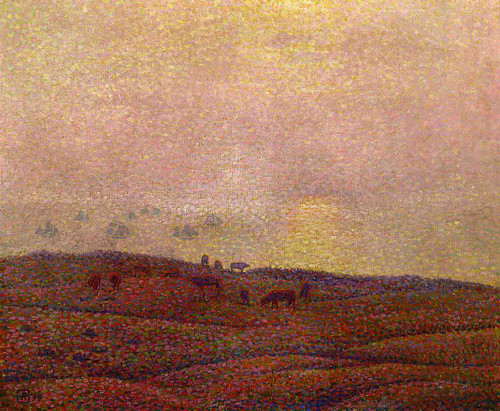 Cows In A Landscape By Theo Van Rysselberghe
