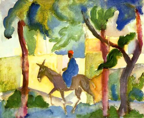 Donkey Rider By August Macke