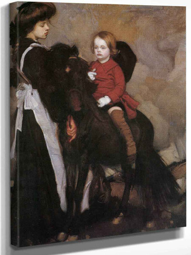 Equestrian Portrait Of A Boy By George W. Lambert